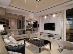 Luxury comfort and chic taste in interior Classy Living Room, Living Room Tv, Living Room Modern, Home And Living, Living Room Designs, Apartment Chic, Apartment Interior, Home Interior, Home And Deco