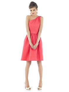 One shoulder cocktail length peau de soie dress with matching wide self belt at natural waist. Full shirred skirt has pockets at side seams. Also available full length as style D531. Available in sizes 00-30W.  http://www.dessy.com/dresses/bridesmaid/d530/