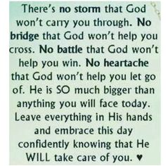 God will take care of you
