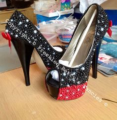 Minnie Mouse Inspired Heels by FreckledBettysFancys on Etsy, $90.00