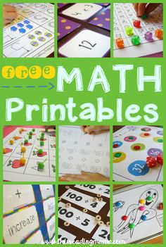 Lots of FREE Math Printables for Preschool, Kindergarten, First Grade and Second Grade.