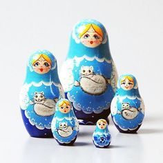 Girl and Cat Nesting Dolls | Cat nesting dolls | The Russian Store