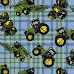 JOHN DEERE BLUE/GREEN PLAID COTTON CHILDREN'S FABRIC    Designed by Deere & Company and licensed to Springs Creative Products, this cotton print fabric is perfect for quilting, apparel and home decor accents.  Colors include green, blue, yellow, black and grey.    What little boy or girl wouldn't want to have this fun John Deere Children's Fabric in a quilt or to decorate their bedroom.  John Deere has issued such a great line of fabrics, so much to choose from.  Order your fabric today and…