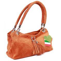 Monkeying About Ladies Italian Suede Handbag Shoulder Bag Evening Purse - Orange £29.95