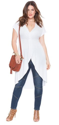 Plus Size Knot Front Maxi Top - Street Fashion, Casual Style, Latest Fashion Trends - Fashion New Trends Look Plus Size, Plus Size Casual, Plus Size Tops, Plus Size Women, Plus Size Chic, Plus Zise, Mode Plus, Curvy Girl Fashion, Plus Fashion