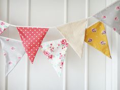Mustard Yellow and Red Bunting Flags Fabric by BerryAlaMode, $27.00