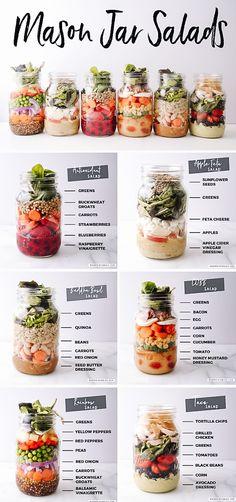 Mason Jar Lunch, Mason Jars, Mason Jar Meals, Meals In A Jar, Mason Jar Recipes, Mason Jar Smoothie, Salad Recipes Healthy Lunch, Easy Healthy Recipes, Healthy Lunches