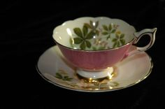 Royal Stafford  Pink Gold Foliage  Cup and Saucer #RoyalStafford