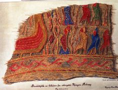 A preserved fragment of a tapestry from a grave on the Rolvsøy island in Østfold County. (Drawing: Tone Strenger / Photo: Museum of Cultural History, Oslo, via Pinterest)