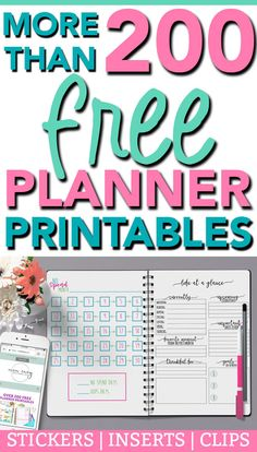 Free Planner Printables - Over 200 free Printables (Stickers, Inserts, etc), To Do Planner, Passion Planner, Free Planner, Planner Template, Happy Planner, Planner Inserts, Goals Planner, Planner Ideas, Schedule Templates