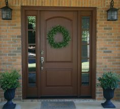 Therma Tru Classic Craft Rustic 2-Panel Soft Arch Exterior Fiberglass Door CCR200, Factory Finish Cherry Stain.  Sidelite CCR3400SL
