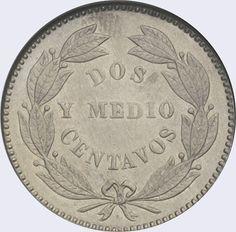 Pieza mv2.5cv-aa02 (Anverso). Moneda de Venezuela. 2 1/2 Centavos. Diseño A, Tipo A. Fecha 1877