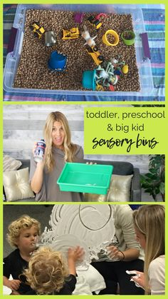Set up the easiest toddler and preschooler sensory bins - work for big kids, too! Toddler Apps, Toddler Preschool, Sensory Bins, Sensory Activities, Educational Activities For Kids, Kids Learning, Scrapbook Box, Dustpans And Brushes, Work From Home Moms