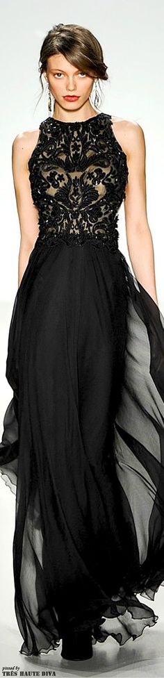 Tadashi Shoji Fall/Winter 2014 RTW black lace evening gown via: