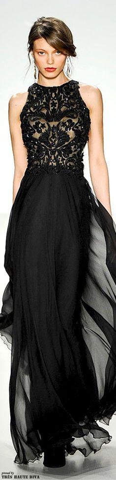 Tadashi Shoji Fall/Winter 2014 RTW black lace evening gown via: