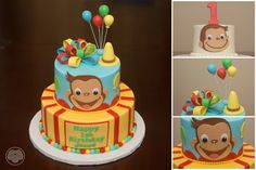 Curious George cake and smash cake.                                                                                                                                                     Más