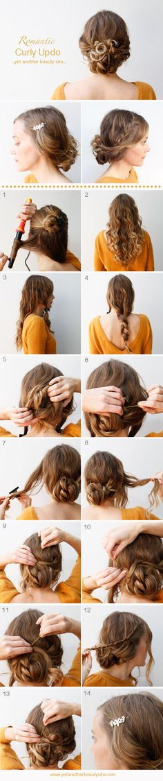 Cute romantic curly updo. Maybe I'll actually try something with my hair.