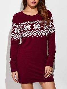 Snowflake Print Raglan Sleeve Dress in Red With White | Sammydress.com