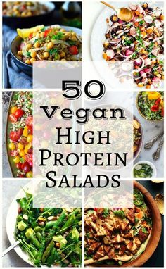 50 Vegan High Protein Salads (The Stingy Vegan) We've scoured the internet to find fifty of the best, most creative and beautiful (and tasty) vegetarian and vegan high protein salads. Vegan Keto, Vegan Protein, Vegan Foods, Vegan Dishes, Protein Muffins, Protein Cookies, Protein Bars, Raw Vegan, Tasty Dishes