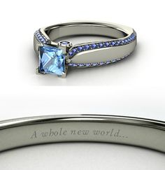 Disney Princess Inspired Rings~Jasmine~Set in white gold, two small bezel-set sapphires on each side of the gallery add another touch of radiance to accent the center blue topaz and double row of diamonds.
