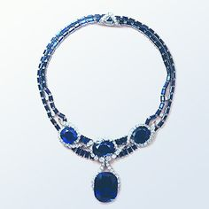 Florence Jay Gould's Sapphire and Diamond Necklace - 114 cttw sapphires