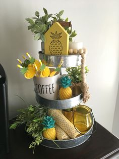 Three tier stand from Hobby Lobby. Pineapple theme, perfect for the Summer. Three tier stand from Hobby Lobby. Pineapple theme, perfect for the Summer. Lemon Kitchen Decor, Kitchen Decor Themes, Kitchen Ideas, Kitchen Reno, Kitchen Layout, Kitchen Cabinets, Pinapple Room Decor, Hobby Lobby, Wood Box Centerpiece