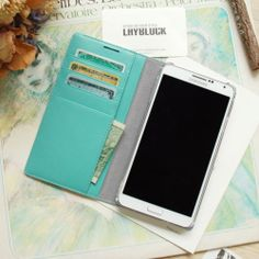 Layblock Genuine Leather Samsung Galaxy Note 3 Case Wallet Cover Mint Flip | eBay