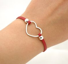 Sterling Silver Heart Red Leather Bracelet  Simple by MyveraDesign, $26.00