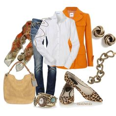 Orange Blazer and Leopard Flats :)