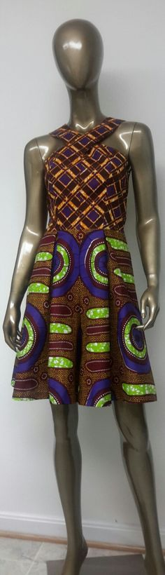 African Print Culottes Dress. Jumpsuit. Inside by NanayahStudio