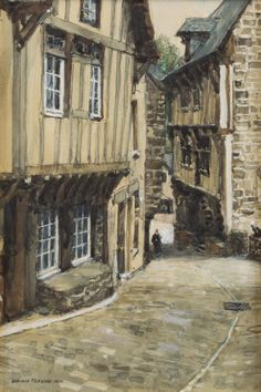 ''A Street in Dinan (France),'' Donald Teague, watercolor on paper under glass, 9 x 6'', private collection.
