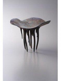 A fantastical creature sculpture from Japanese ceramic artist Yoshihiro Kunikata's