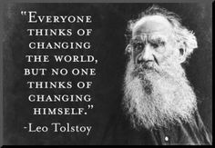 Mounted Print: Every Thinks Of Changing World Not Himself Tolstoy Quote Poster : 13x19in
