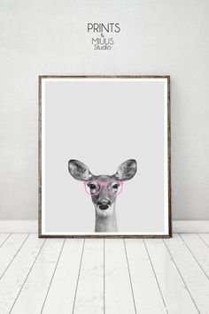 Deer Print Pink Glassess Hipser Deer Antlers by PrintsMiuusStudio