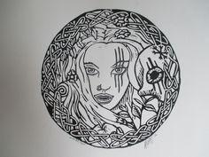'Vrouw Holle, de put'. Linoleum print. Dmy van der Waal