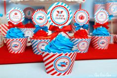 Airplane Birthday Party - 2 inch Party Circles & Bonus: Cupcake Wrappers NonPersonalized Printable Design by leelaaloo.com || #diy #airplane #cupcake #wrappers #party #circle #birthday #party #Leelaaloo