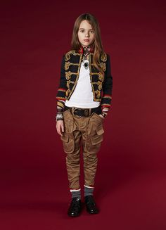 Military kidswear look fashion from DSquared2 for fall/winter 2016