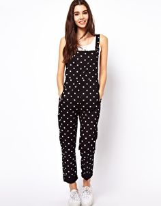 ASOS Spot Print Dungarees in Twill