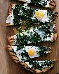Grilled Pizza with Greens and Eggs   Food & Wine