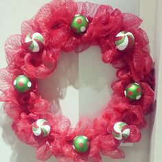 Christmas wreath - double ring metal wreath with 'pack and tie' webbing threaded throughout.
