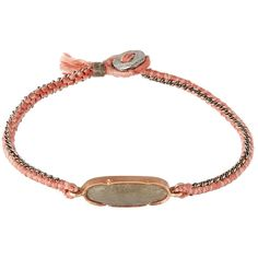 Brooke Gregson Mid Grey Labradorite and Silk Button Bracelet ($1,045) ❤ liked on Polyvore featuring jewelry, bracelets, grey jewelry, brooke gregson jewelry, chain bracelet, woven bracelet and gray jewelry