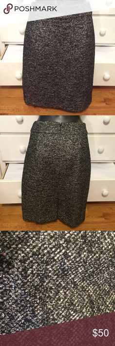 """J. Crew Tweed Skirt This skirt is in excellent condition and has only been worn once or twice. There is a slit in the back (pictured). The waist flat across measures 15"""" and the length is 22"""". Please feel free to make an offer. 😊 J. Crew Skirts"""