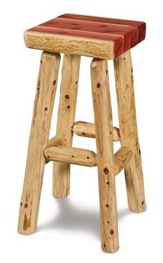 Amish Rustic Log Square Bar Stool A thick squared top and choice of rustic aspen, cedar or pine log wood defines these rugged bar stools. Handcrafted just for your home!