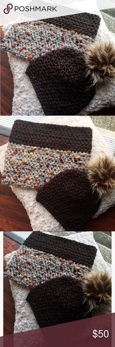 Alberta Cowl Alberta Cowl. HANDMADE. Chocolate/grey falls scarf. Light weight but thick to keep neck warm!!! Bundle with matching chocolate hat for special price. Questions, ask below.  🚫🚫Price is based on: stitch difficulty, amount of yarn used, price of yarn, additional add ons (FAUX poms, bows, buttons, Crochet flowers etc) and TIME to complete.Questions, ask below.   🚫NO TRADES 🚫NO HOLDS 🚫NO NEGATIVITY 🚫🚫NO LOW BLOW Accessories Scarves & Wraps