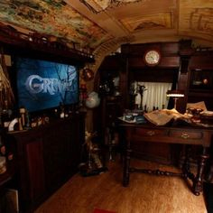 Grimm ~ inside of Aunt Marie's vintage Airstream trailer