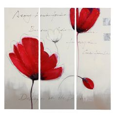 Triptyque Coquelicot sauvage 69euros Wild Poppies, Paint Cards, Wall Decor, Watercolor, Canvas, Drawings, Artist, Painting, Mantle