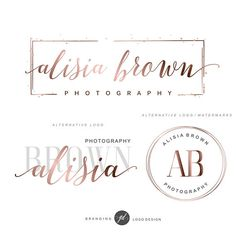 Rose gold design Branding package Photography logo package