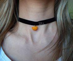 Mini slices of mandarin pendant  choker - Velvet Choker - 90s choker - vintage black  necklace - Birthday gift  - black orange jewelry