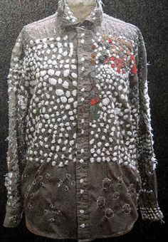 hand work by Keisuke Nomaguchi (born 1976) nylon-wool yarn, cotton thread, hand stitch    embroidered ready made shirt by Keisuke Nomag...
