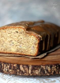 Brown Sugar Banana Bread with a brown sugar glaze! So soft and delicious!!